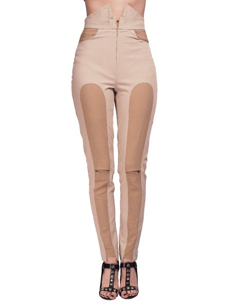 Beige High Waisted Trousers