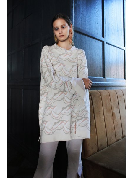 Beige Jacquard Knitted Jumper