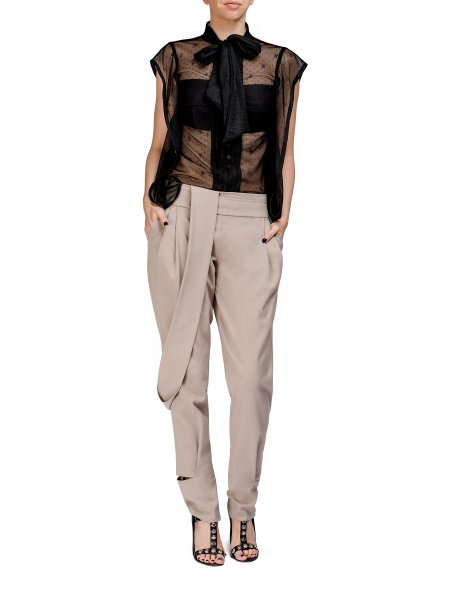 Beige Relaxed Fit Trousers