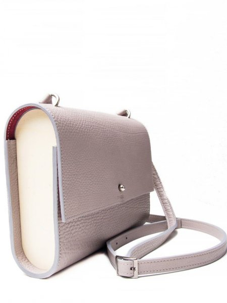 Beige Wood and Leather Shoulderbag