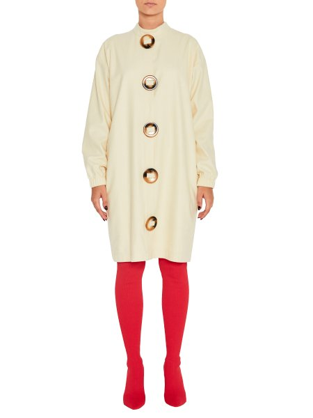 Beige Woolen Dress With Oversized Buttons