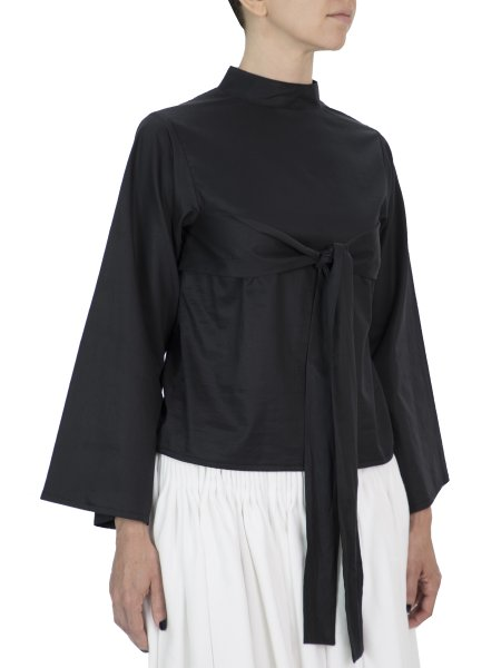 Bell Sleeve Black Cotton Blouse