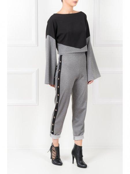 Black & Grey Pinstriped Blouse