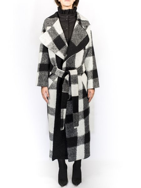 Black and White Squared Overcoat