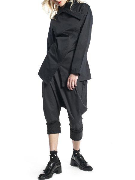 Black Asymmetric Cotton Jacket