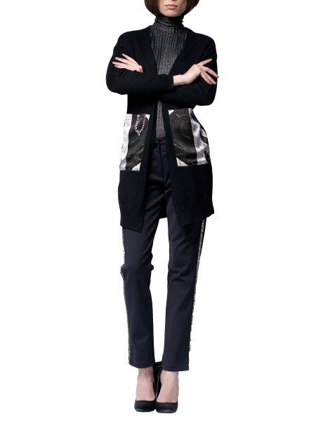 Black Cardigan with Silk Insertions