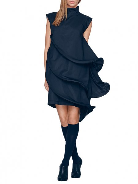 Black Cocktail Dress With Independent Layers