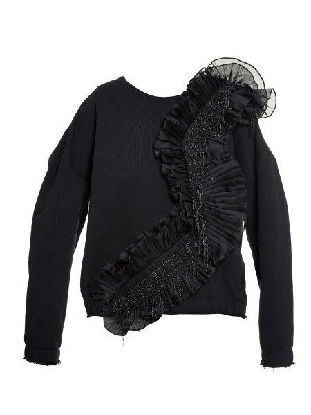 Black Cotton-Jersey Embellished Blouse