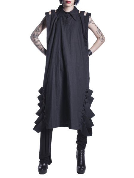 Black Cotton Tunic With Side Splits