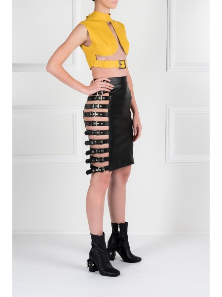 Black Leather Skirt with Metallic Details