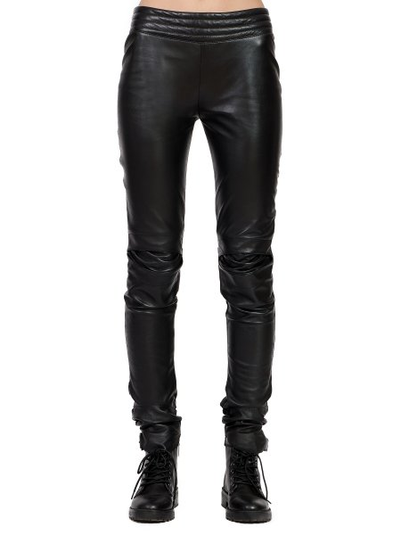 Black Leather Trousers with Back Zip
