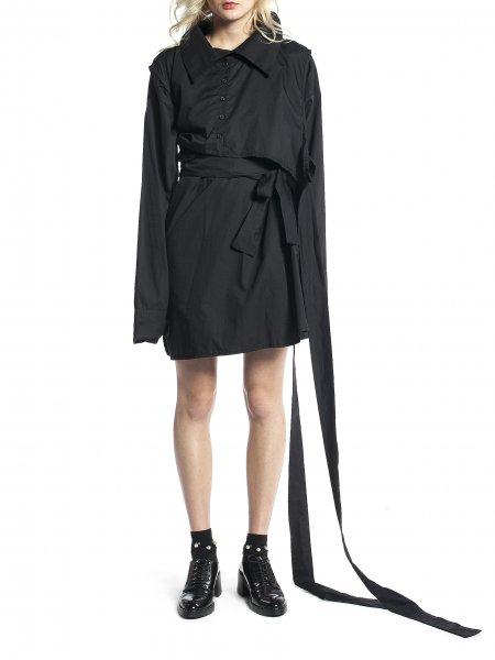 Black Long Shirt with Ribbons