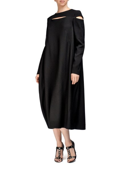 Black Long-Sleeved Viscose Dress