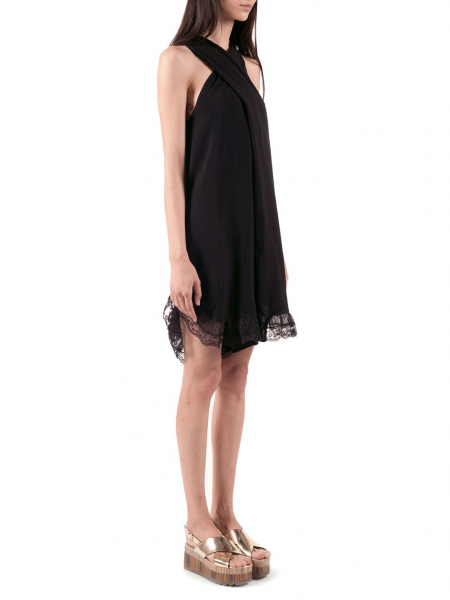 Black Loose Fit Rompers With Side Pockets