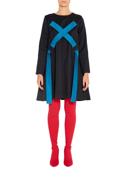 Black Loose Fit Woolen Dress