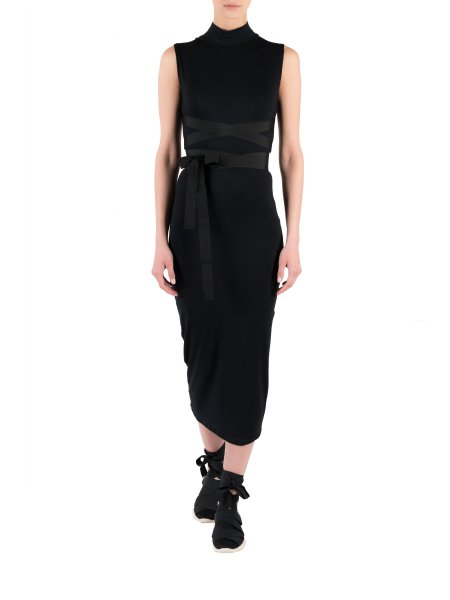 Black Midi Dress With Braids