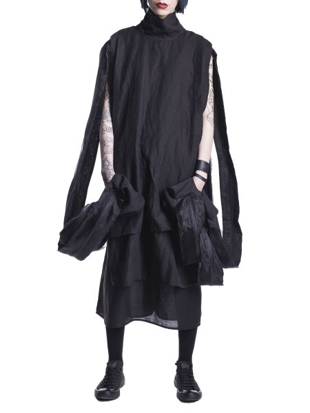 Black Midi Dress With Veil Panels