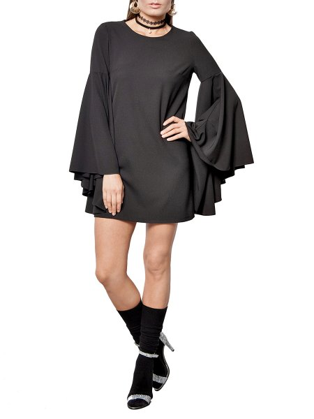 Black Mini Bell Sleeved Dress