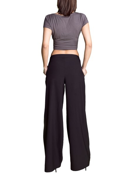 Black Palazzo Trousers With Strings