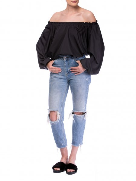 Black Poplin Blouse