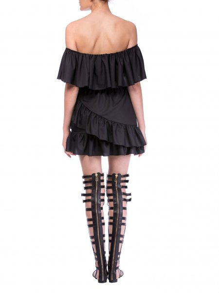 Black Poplin DressWith Open Shoulders And Frills