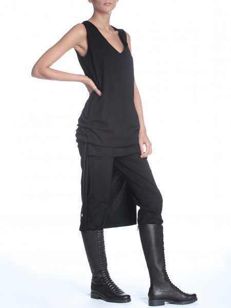 Black Sleeveless Dress with Adjustable Length