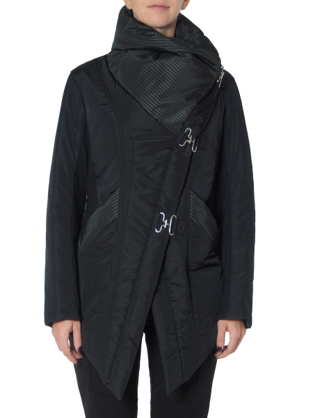 Black Slicker Jacket with Eyelets Fastening