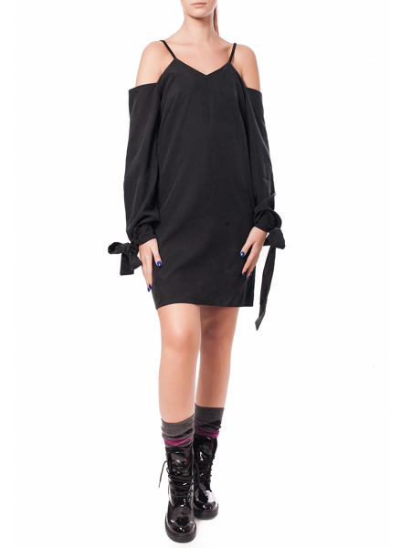 Black V-Neck Viscose Dress