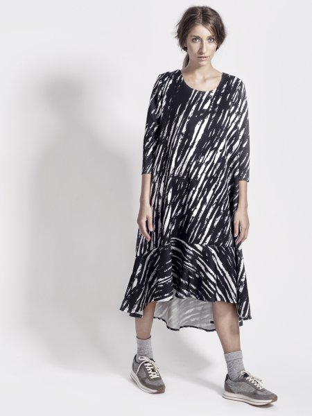 Black&White Asymmetrical Dress