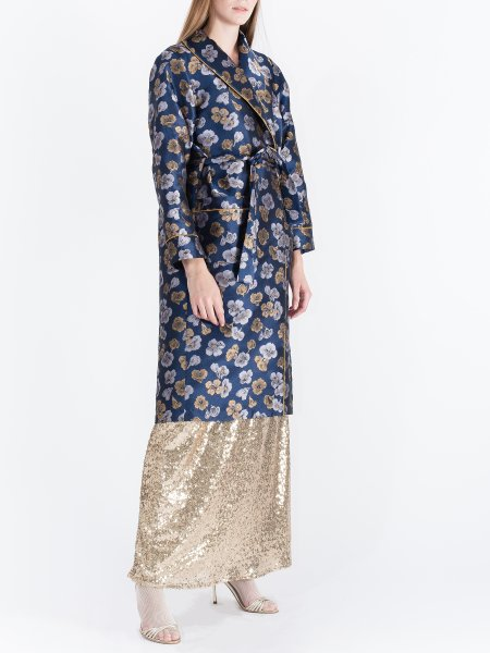 Blue Jacquard Robe with Floral Pattern