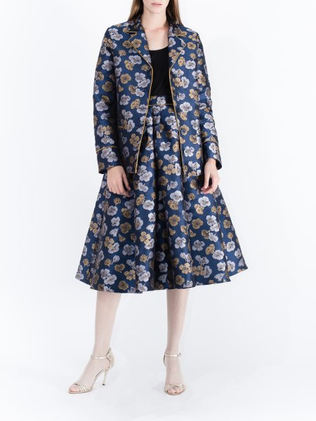 Blue Jacquard Skirt with Floral Pattern