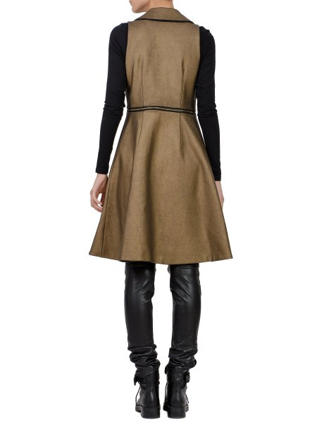 Brown Coated Asymmetric  Vest