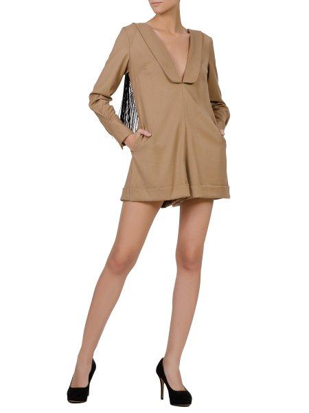 Brown Short Jumpsuit With Fringes