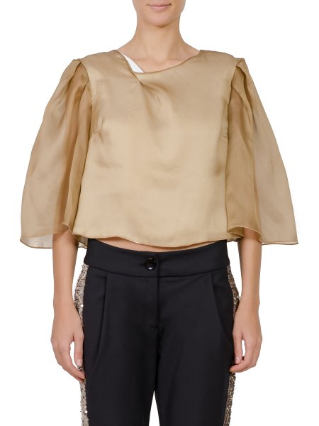 Brown V-neck Blouse With Oversized Sleeves