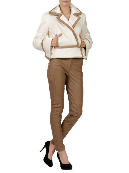 Butter Bulky Jacket With Brown Details