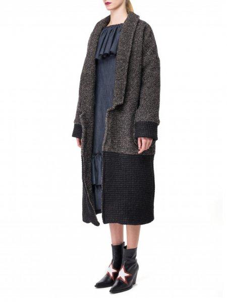 Color Block Wool Mix Coat