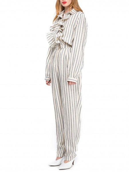 Cotton Striped Jumpsuit