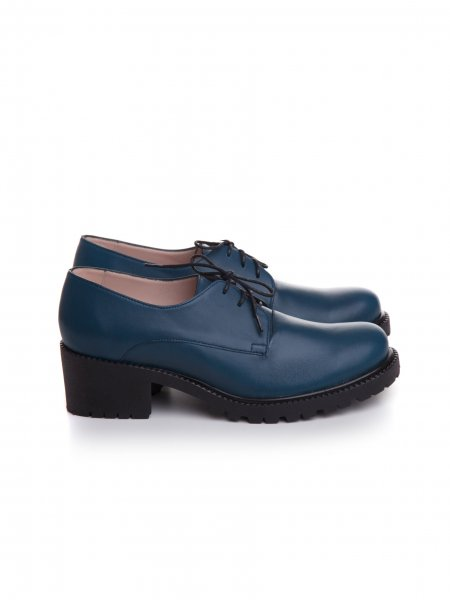 Dark Blue Oxford Shoes With Laces