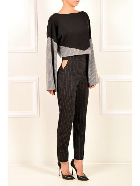 Dark Grey Pinstriped Trousers