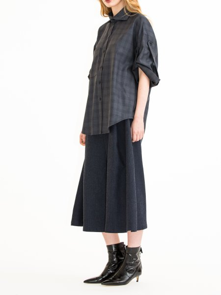 Dark Grey Plaid Wool  Shirt with Sleeves Detail