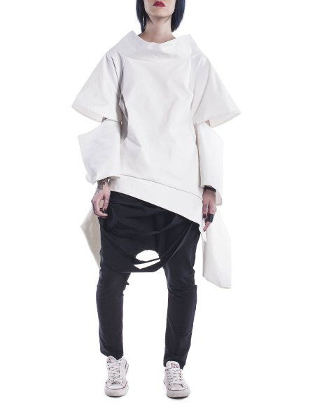 Dropped Shoulders White Jacket