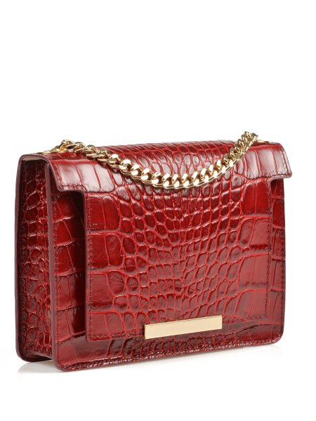 Glossed Crocodile Red Shoulder Bag