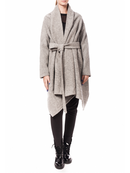 Gray Asymmetric Woolen Jacket