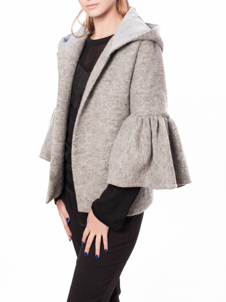 Gray Hooded Wool Jacket