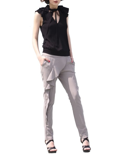 Gray Trousers With Side Ruffles