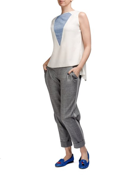 Gray Trousers with Split Cuffs