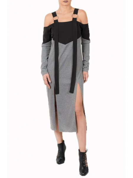 Grey Pinstriped Dress with Front Splits