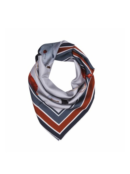 Grey Satin Silk Scarf