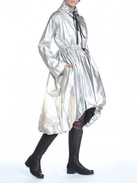 High Collar Metallic Silver Trench