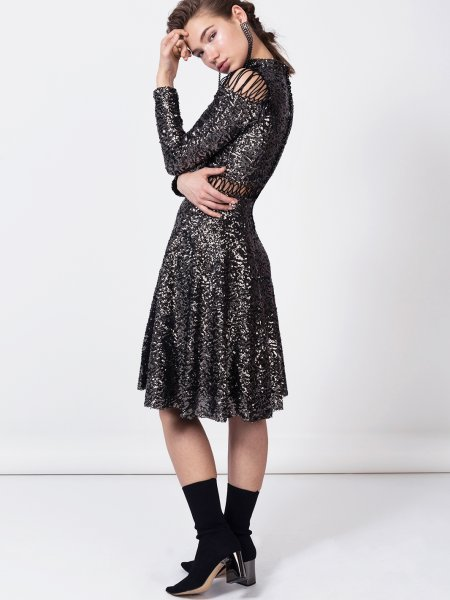 Lace Up Sequin Dress